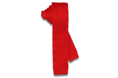 Flash Red Knitted Skinny Tie
