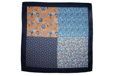 Floral Blues Silk Pocket Square
