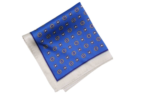 Freckled Blue Silk Pocket Square