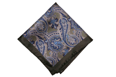 Fredmond Olive Silk Pocket Square