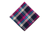 Fuchsia Plaid Cotton Pocket Square