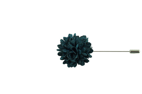 Full Petal Aqua Black Lapel Flower