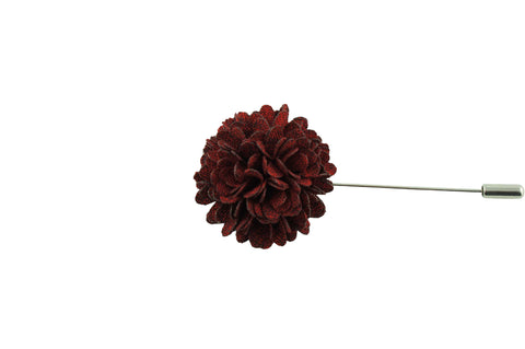 Full Petal Maroon Lapel Flower