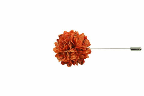 Full Petal Orange Lapel Flower