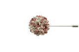 Full Petal Red White Lapel Flower