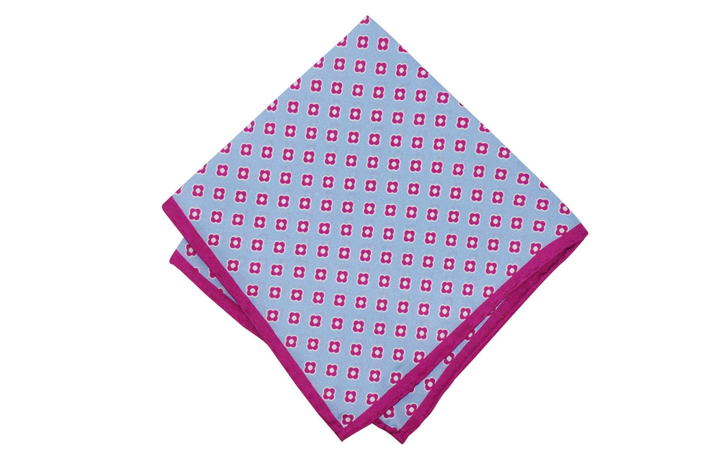 Fuchsia Border Silk Pocket Square