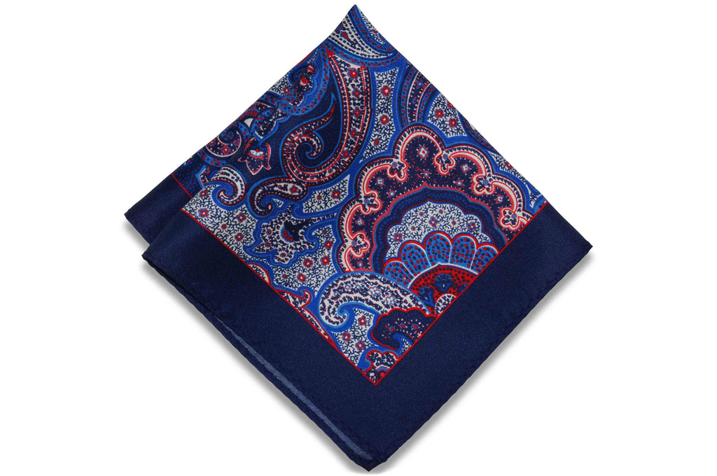 Garden Navy Silk Pocket Square