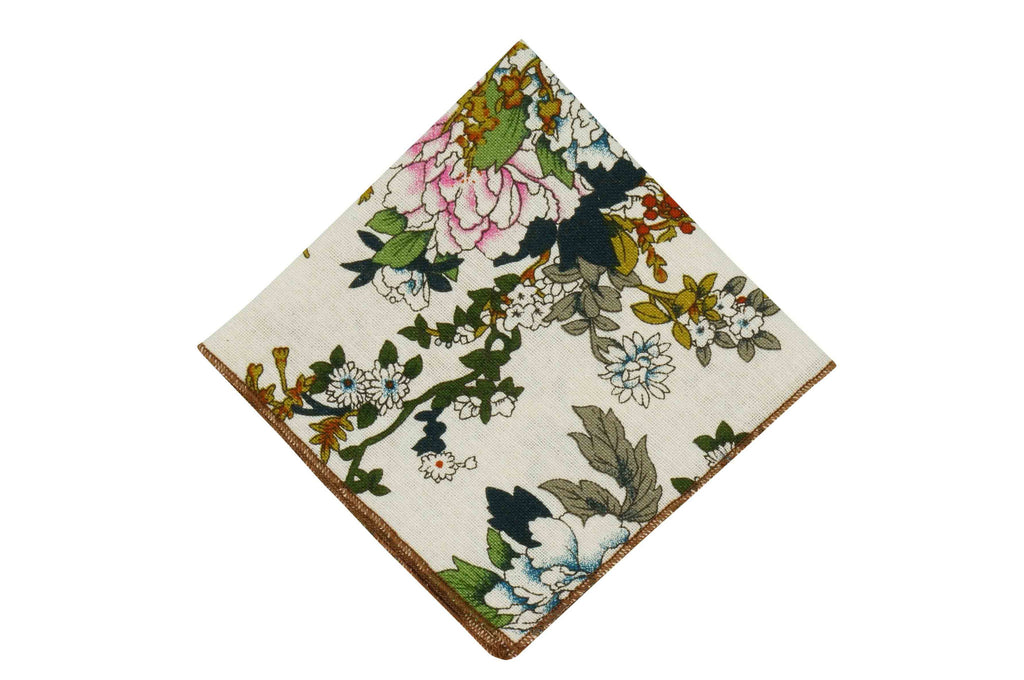Garden White Cotton Pocket Square