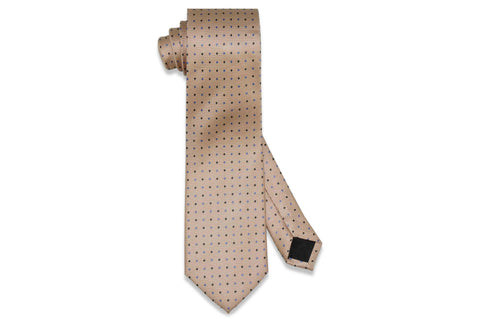Gold Blue Pin Dots Silk Tie