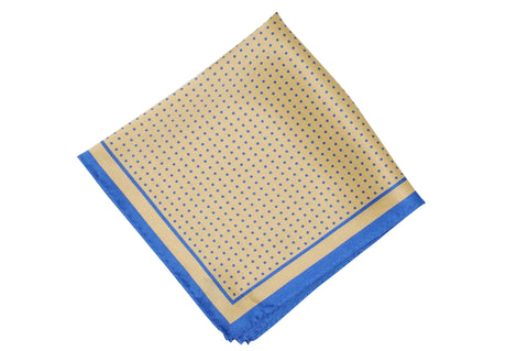 Golden Blue Dots Silk Pocket Square