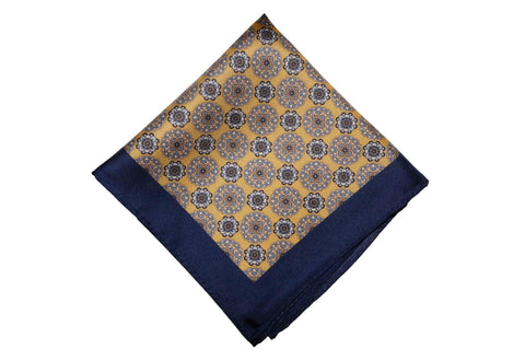 Golden Blues Silk Pocket Square