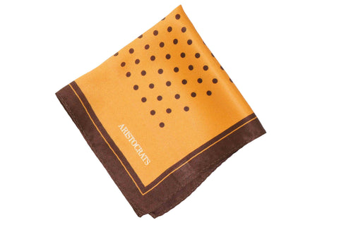 Golden Brown Dots Silk Pocket Square
