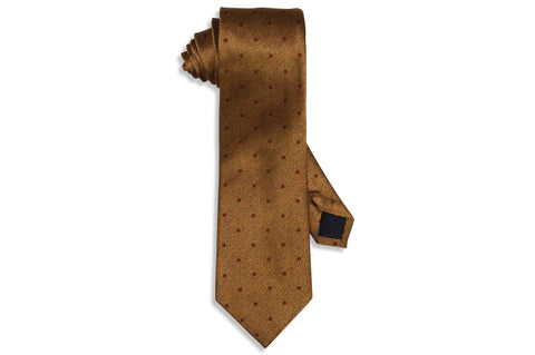 Golden Brown Dots Silk Tie