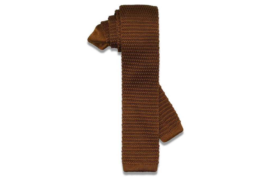 Golden Brown Knitted Skinny Tie