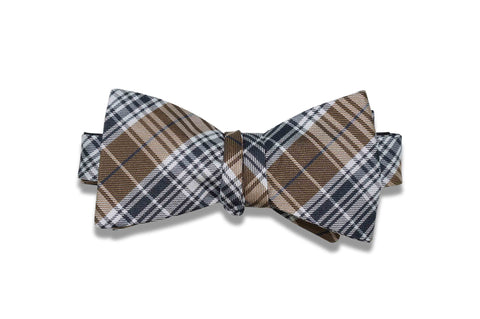 Golden Brown Plaid Silk Bow Tie (self-tie)