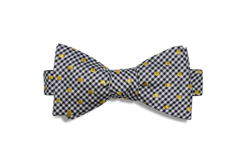 Golden Checkers Silk Bow Tie (self-tie)