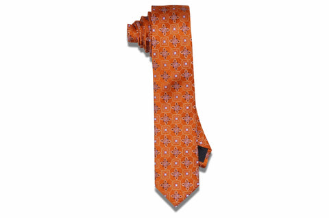 Golden Orange Flowers Silk Skinny Tie