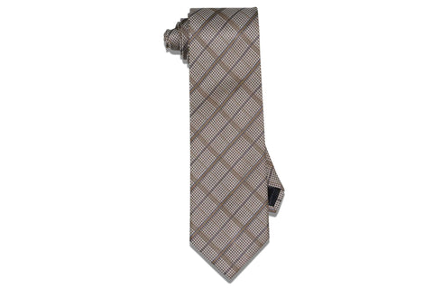 Golden Striped Houndstooth Silk Tie