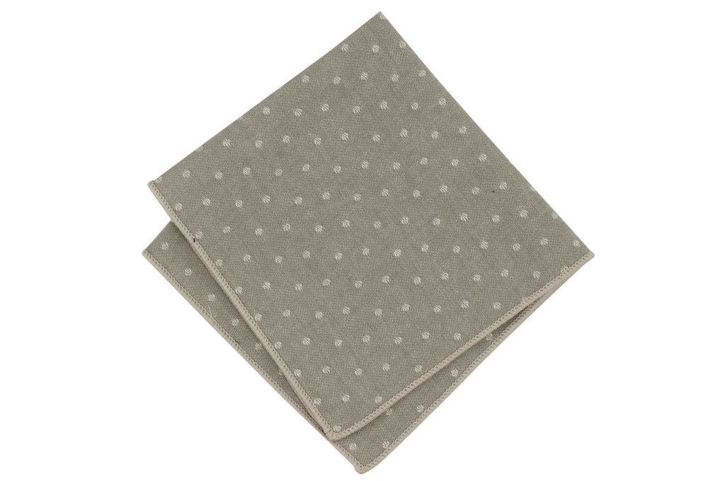 Gray Dotted Cotton Pocket Square