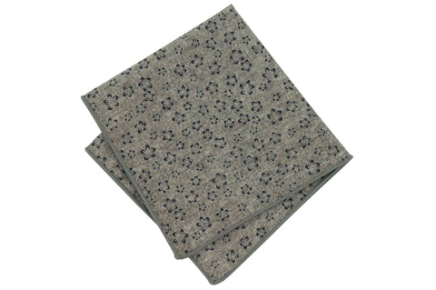 Gray Faded Flowers Cotton Pocket Square