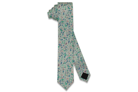 Green Blue Floral Cotton Skinny Tie