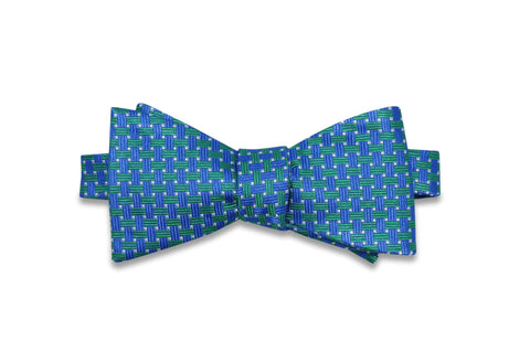 Green Blue Tied Silk Bow Tie (self-tie)