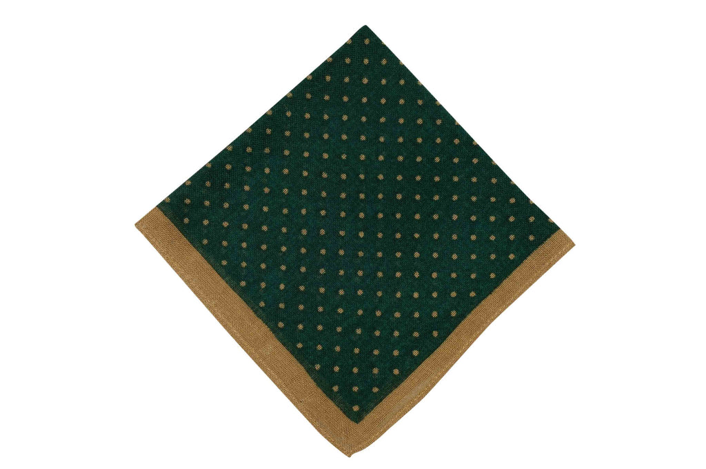 Green Brown Dots Wool Pocket Square