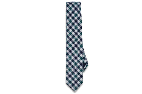 Green Check Cotton Skinny Tie