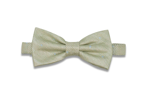 Green Dotted Linen Bow Tie (Pre-Tied)