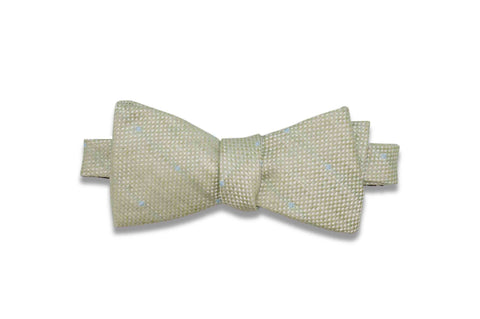 Green Dotted Linen Bow Tie (Self-Tie)