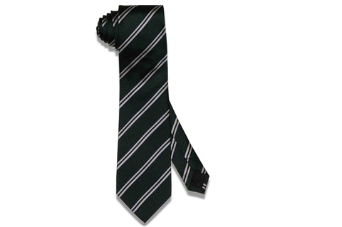 Green Double Stripes Silk Tie