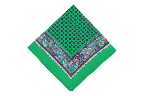Green Frame Silk Pocket Square