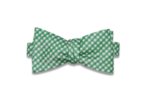 Green Gingham Silk Bow Tie (Self-Tie)