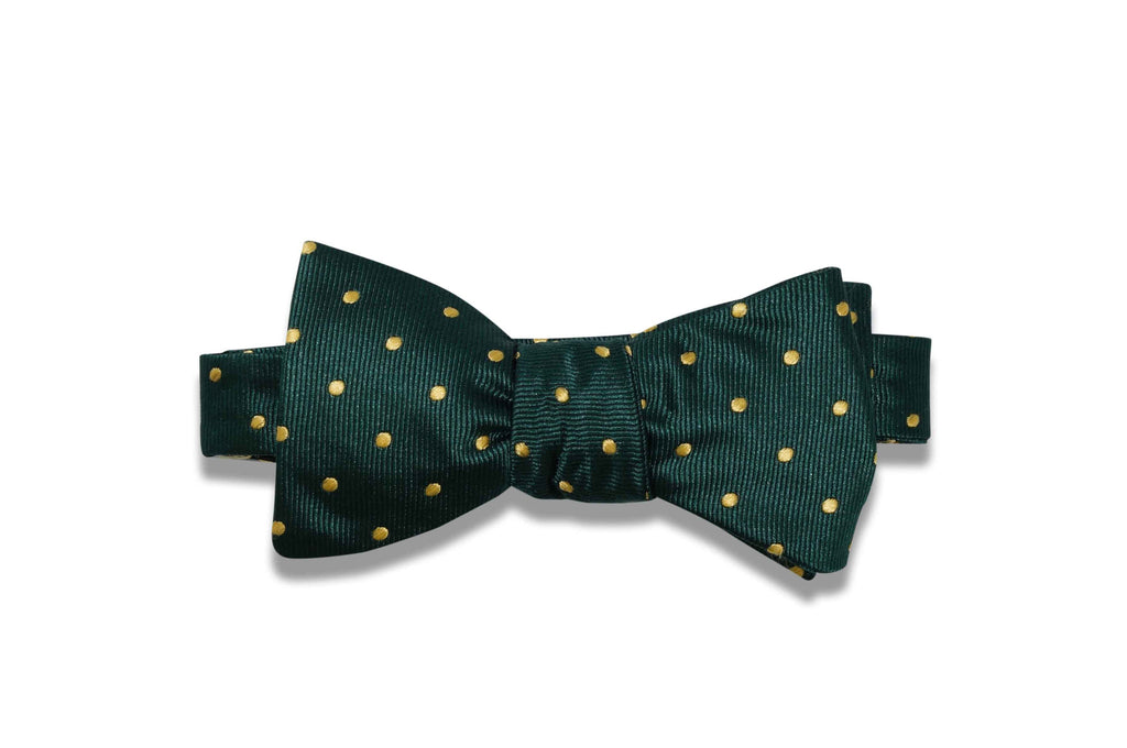 Green Golden Dots Silk Bow Tie (self-tie)