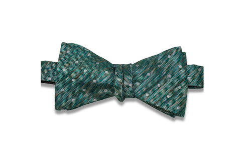 Green Haze Dotted Silk Bow Tie (Self-Tie)