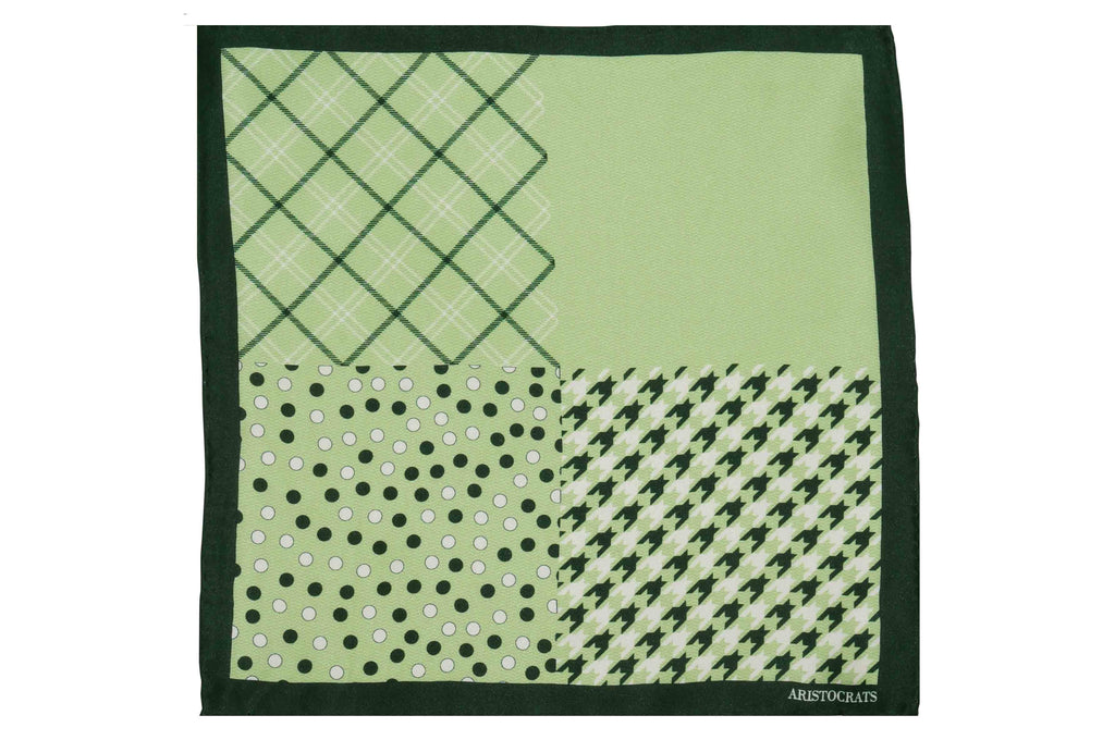 Green Multi Pattern Silk Pocket Square