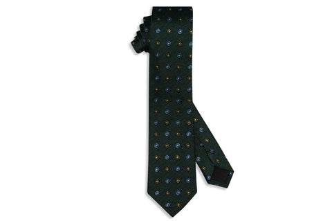 Green Oval Flowers Silk Skinny Tie