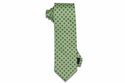 Green Squared Circles Silk Tie