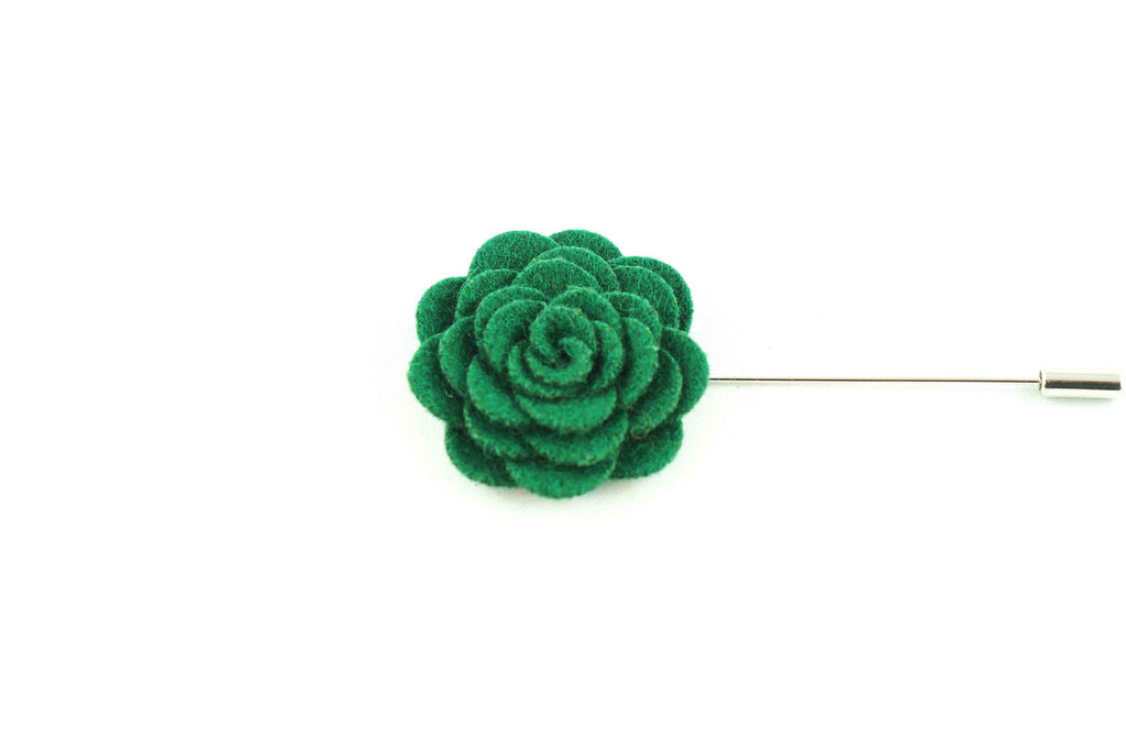 Green Wool Lapel Flower