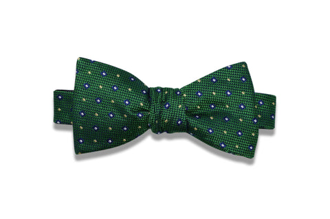 Green Yellow Squares Silk Bow Tie (self-tie)