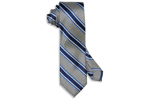Grey Blue Striped Silk Tie