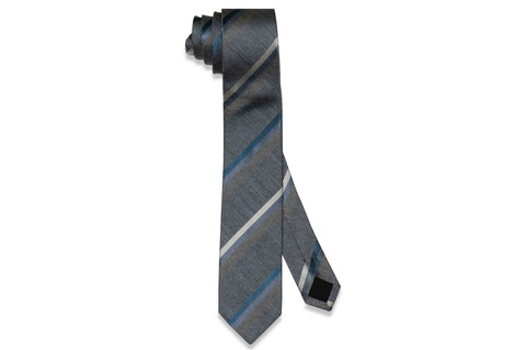 Grey Blue Stripes Silk Skinny Tie