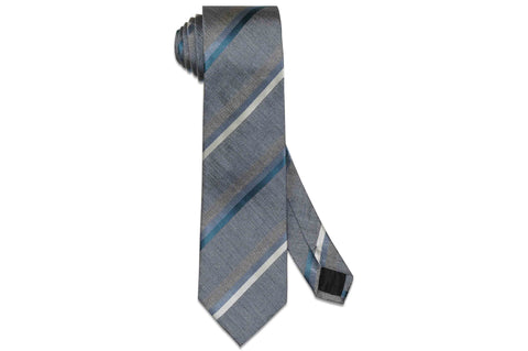 Grey Blue Stripes Silk Tie