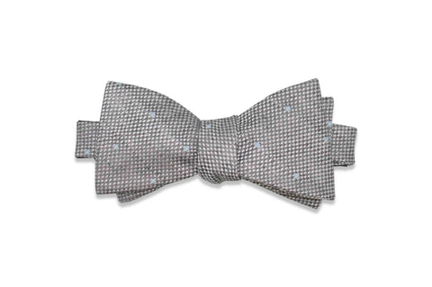 Grey Dotted Linen Bow Tie (Self-Tie)