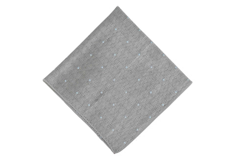 Grey Dotted Linen Pocket Square