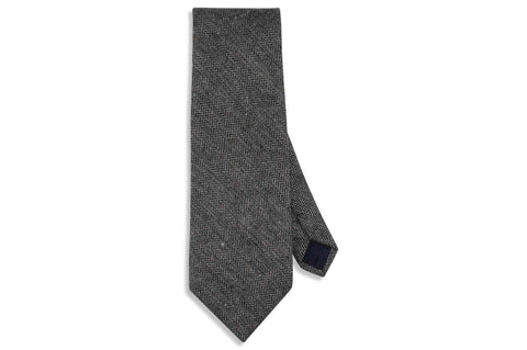 Grey Herringbone Wool Tie
