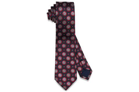 Grey Medallion Flowers Silk Skinny Tie
