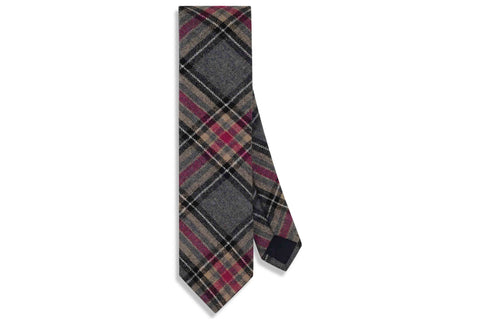 Grey Plaid Wool Skinny Tie