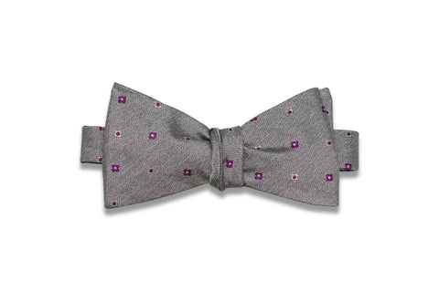 Grey Purple Flowers Silk Bow Tie (Self-Tie)