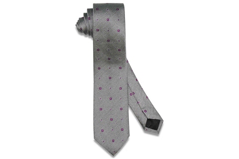 Grey Purple Flowers Silk Skinny Tie